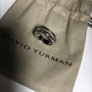 David yurman sterling & 18k crossover x ring 6.5